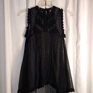 Free People black laced with mesh top